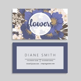 Cartões de visitas da flor azuis