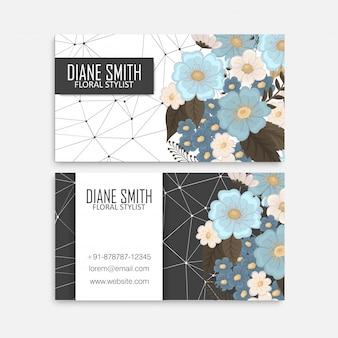 Cartões de visitas da flor - azul