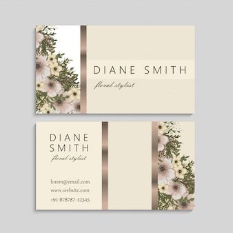 Cartões de visitas da flor do vintage