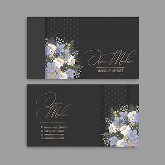 Cartões de visitas da flor flores azuis