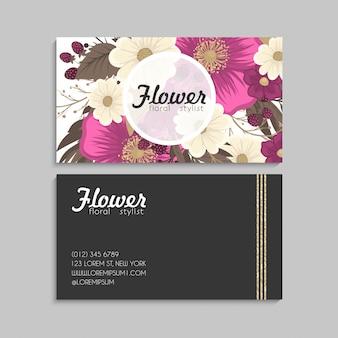 Cartões de visitas da flor flores do rosa quente