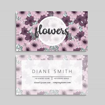 Cartões de visitas da flor flores roxas