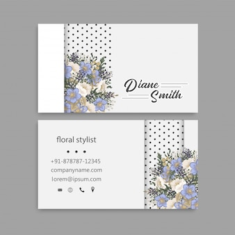 Cartões de visitas da flor - luz - flores azuis