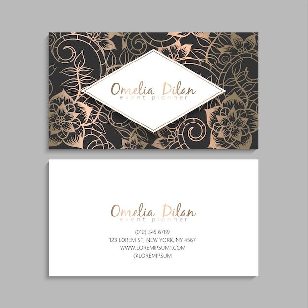 Cartões de visitas da flor ouro e preto