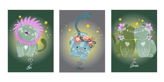 Cartões de zodíacos com personagens de gatos bonitos dos desenhos animados