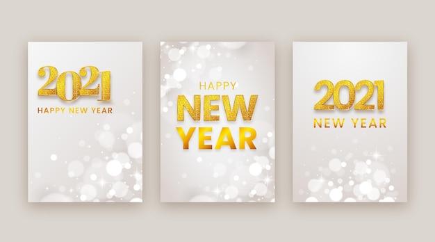 Cartões desfocados de ano novo de 2021