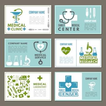 Cartões diferentes com tema da medicina e da ciência