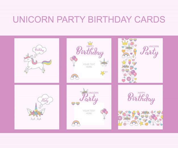 Cartões do aniversário do partido do unicórnio