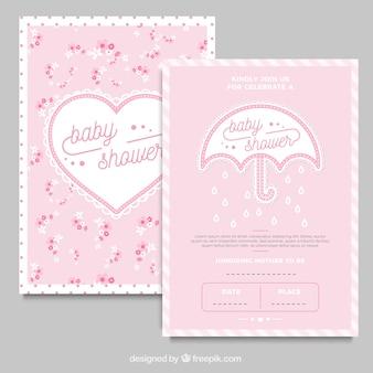 Cartões do chique com guarda-chuva e coração