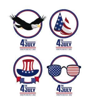 Cartões do dia da independência dos eua