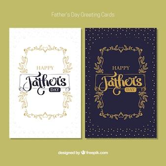 Cartões do dia de pai retro com detalhes dourados