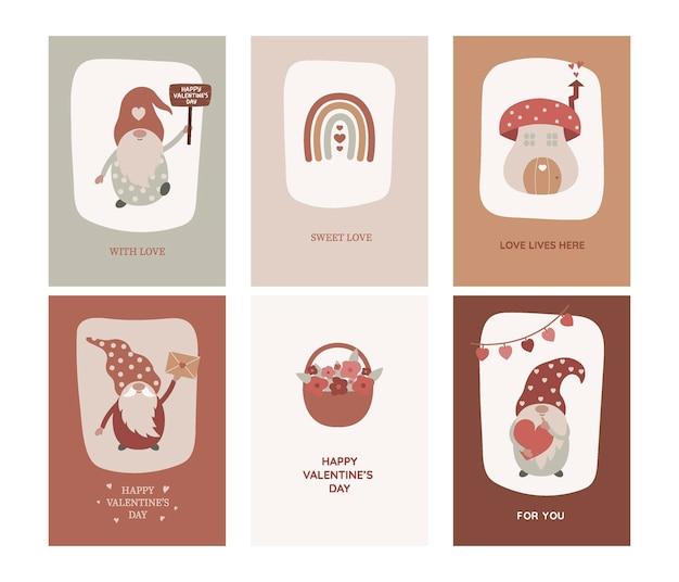 Cartões do dia dos namorados com gnomos, arco-íris, cogumelo, buquê no estilo boho.