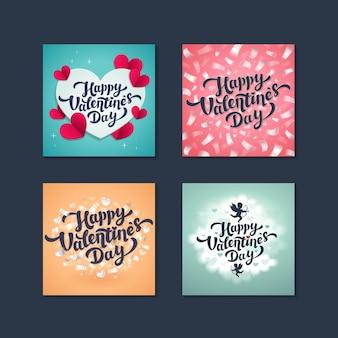 Cartões do dia dos namorados - conjunto de cartões do dia do amor