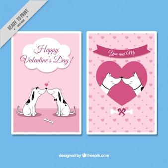 Cartões do dia dos namorados de cães amorosos