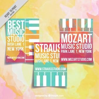 Cartões do estúdio da música com aguarelas