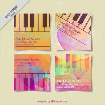 Cartões do estúdio da música pintado com aguarelas