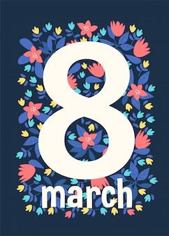 Cartões do fundo que cumprimentam com o dia 8 de março das mulheres.