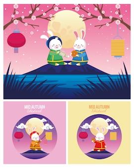 Cartões do meio do outono com cenas de coelhos e luas