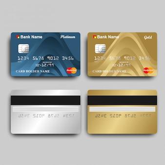 Cartões do ouro e do platinum atm