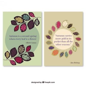 Cartões do outono com citações agradáveis
