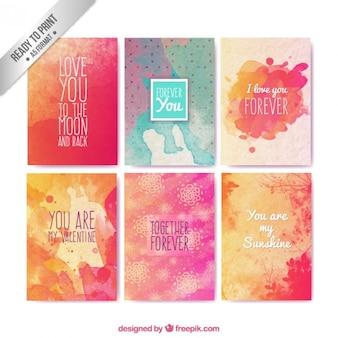 Cartões do valentim da aguarela com frases