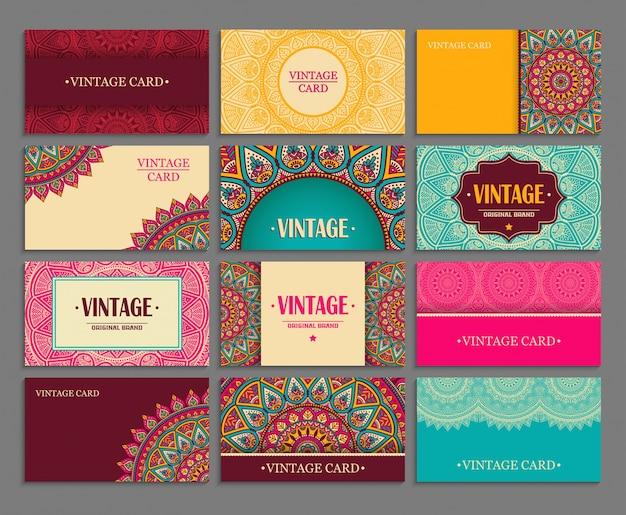 Cartões do vintage com mandalas