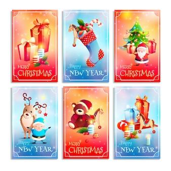 Cartões dos desenhos animados do ano novo