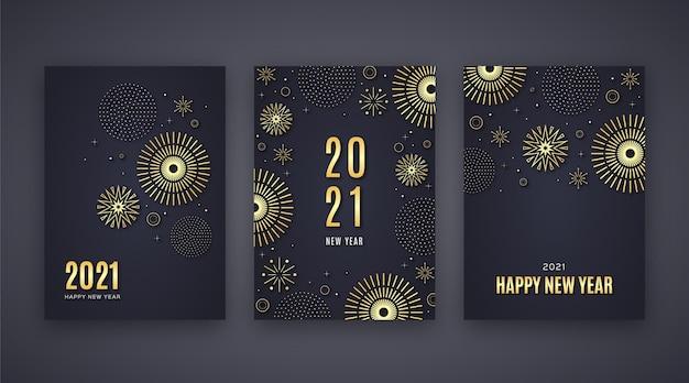 Cartões dourados do ano novo 2021