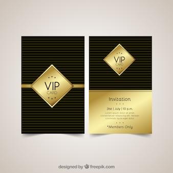 Cartões dourados vip com estilo moderno