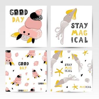 Cartões e padrões sem emenda, animais marinhos, lettering