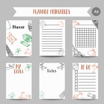 Cartões e símbolos para organizar você planejador.