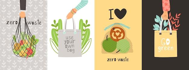 Cartões ecológicos. desperdício zero, salve a natureza e o meio ambiente. use suas próprias sacolas, pacote de compras de têxteis em banners de vetor de mãos