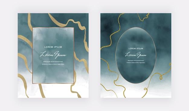 Cartões em aquarela azuis com molduras geométricas e linhas de brilho dourado