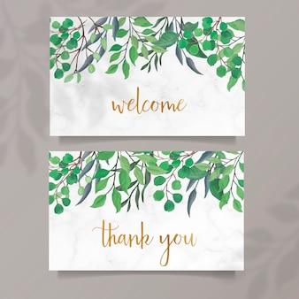 Cartões em aquarela com folhas verdes
