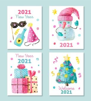 Cartões em aquarela de ano novo 2021