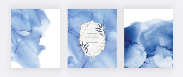 Cartões em aquarela de tinta álcool azul com molduras geométricas de mármore e folhas