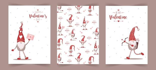 Cartões escandinavos de dia dos namorados com pequenos gnomos em chapéus vermelhos