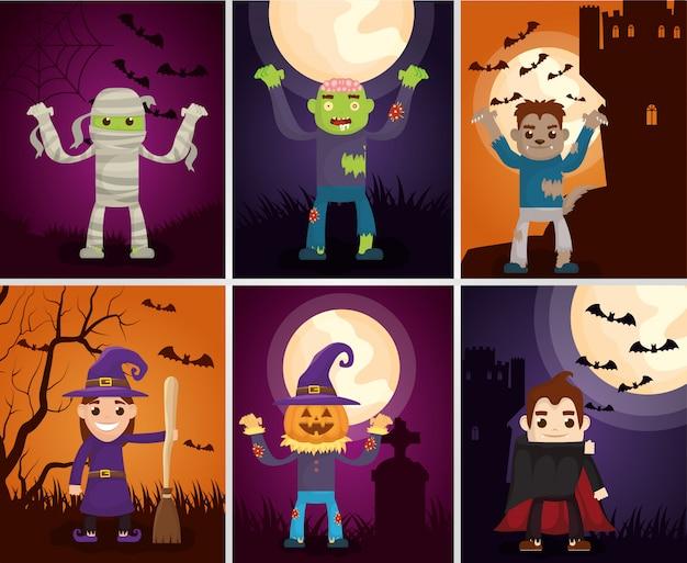 Cartões escuros de halloween com personagens de monstros