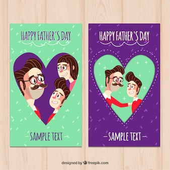 Cartões felizes do dia de pai com corações