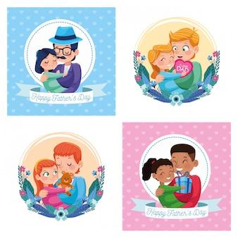 Cartões felizes do dia dos pais com pais que transportam filhas