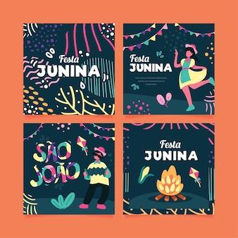 Cartões festival de junho de design plano