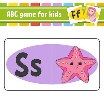 Cartões flash abc. alfabeto para crianças. cartas de aprendizagem