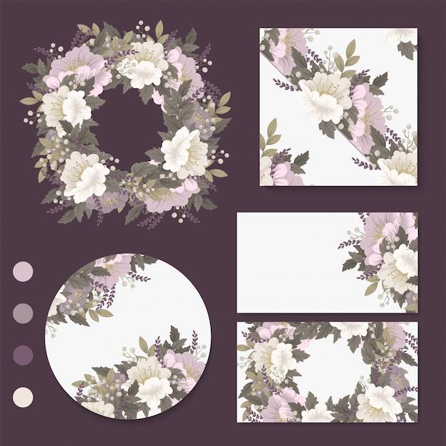 Cartões flor rosa flores, grinalda