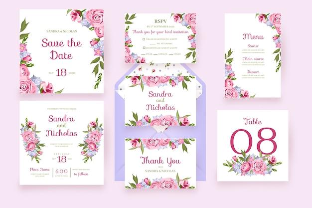 Cartões florais com flores de quadro, artigos de papelaria em rosa