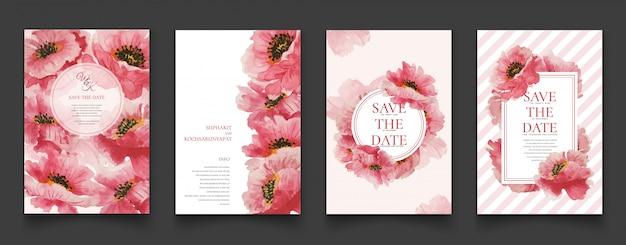 Cartões florais cor-de-rosa da pintura da aguarela.