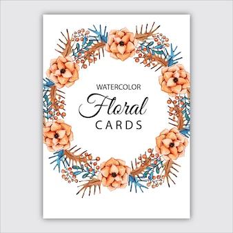 Cartões florais da aguarela
