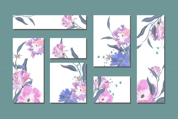 Cartões florais de vetor com bonitos flores azuis e brancas.
