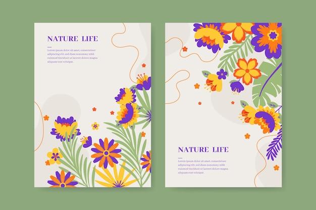 Cartões florais desenhados à mão