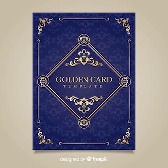 Cartões florais dourados