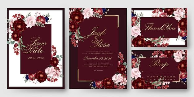 Cartões florais vermelhos do convite do casamento de borgonha